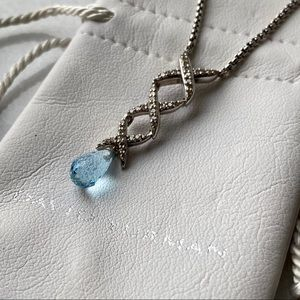 🛍 David Yurman Blue Topaz X design Necklace only